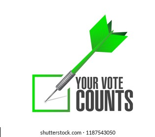 Your vote counts Approval check dart message concept illustration isolated over a white background
