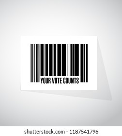 Your vote counts barcode message concept illustration design background