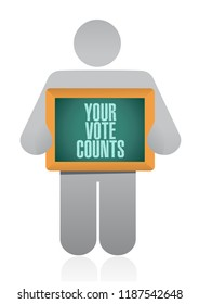 Your vote counts Cbusinessman communication concept illustration isolated over a white background