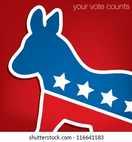 """Your Vote Counts"" Democrat American election card/poster in vector format."