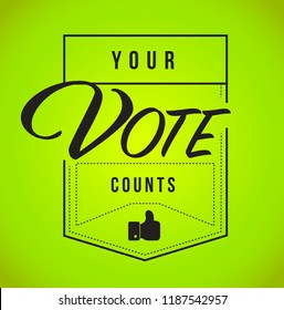 Your vote counts modern stamp message design isolated over a green background