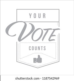 Your vote counts modern stamp message design isolated over a white background