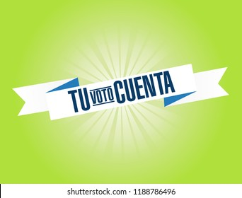 your vote counts in Spanish bright ribbon message  isolated over a green background