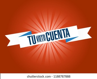 your vote counts in Spanish bright ribbon message  isolated over a red background