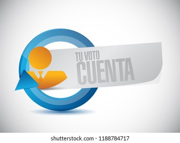 your vote counts in Spanish businessman communication concept illustration isolated over a white background