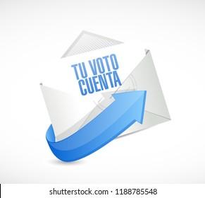your vote counts in Spanish email post it message concept illustration isolated over a white background