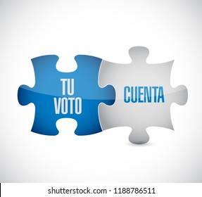 your vote counts in Spanish puzzle pieces message concept, isolated over a white background
