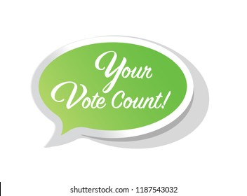 Your vote countsbright message bubble isolated over a white background
