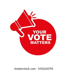 your vote matters sign on white background