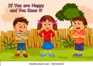 If You're Happy And You Know It, Kids English Nursery Rhymes book illustration in vector