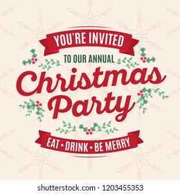 You're Invited to Our Christmas Party Holiday Office Party Vector Illustration Background
