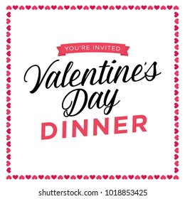 You're Invited Valentine's Day Dinner Vector Holiday Text Background