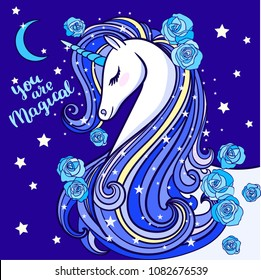 You're magical. A beautiful unicorn with a long mane, on a blue background. Vector illustration