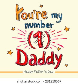 You're my number one Daddy! Happy Father's day hand-lettering watercolor greeting card for dad