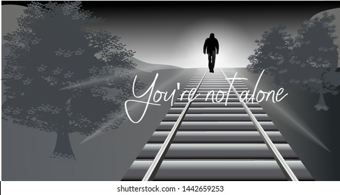 You're not alone.Vector illustration in gray tones.