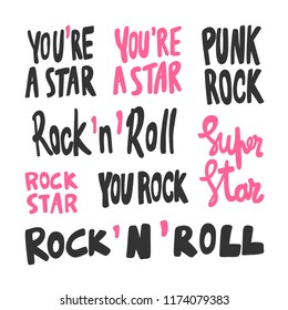 You're a star, punk rock, super, rock'n'roll, you. Sticker for social media content. Vector hand drawn illustration. Bubble pop art comic style poster, t shirt print, post card, video blog