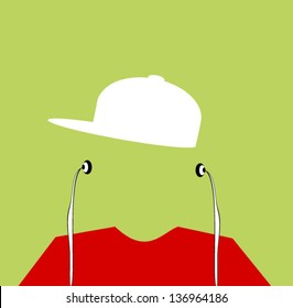 youth with baseball cap backwards listening to earphones