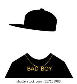 youth with baseball cap sideways and bad boy necklace