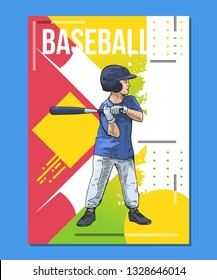 Youth baseball, little player with baseball bat on abstract background. Sport poster, print graphic design. Bright, colorful vector illustration