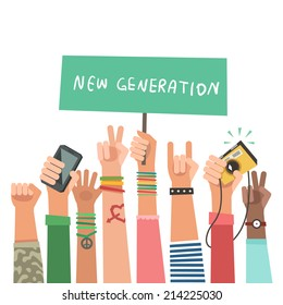 Youth crowd with banner. Manifesting new generation crowd. A lot of hands of young people with different gestures. Vector illustration in flat style