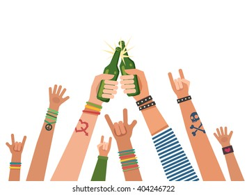 Youth crowd hands toasting with bottles of beer. Manifesting new generation crowd. A lot of hands of young people with different gestures. Vector colorful illustration in flat style isolated on white