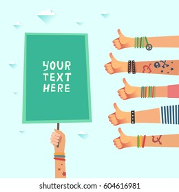 Youth crowd with a placard with place for some text or logo. Millennials concept. A lot of hands of young people with Like gesture. Vector illustration in flat style