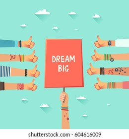 Youth crowd with a placard and slogan Dream Big. Millennials concept. A lot of hands of young people with Like gestures. Vector illustration in flat style