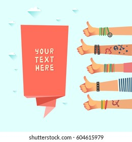 Youth crowd with a ribbon and place for some text or logo. Millennials concept. A lot of hands of young people with thumbs up gestures. Vector illustration in flat style.