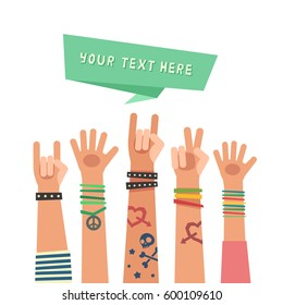 Youth crowd with ribbon for your text. Millennial concept. A lot of hands of young people with different gestures. Vector illustration in flat style