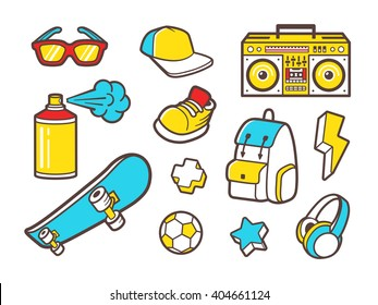 Youth culture symbols - headphones, sneakers shoes, backpack and sunglasses. Urban lifestyle flat outline vector icons - boombox, paint spray, soccer ball and skateboard