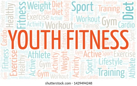 Youth Fitness word cloud. Wordcloud made with text only.