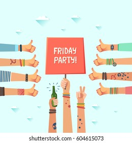 Youth Friday party. A lot of hands of young people showing thumbs up hand sign. Millennial's fun evening concept. New generation crowd. Drunk College Students. Have A Great Weekend.