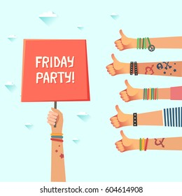 Youth Friday party. Lots of hands of young people showing thumbs up hand sign. Millennial's funny evening concept. New generation crowd. Drunk College Students. Have A Great Weekend.
