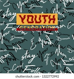 youth generation pattern seamless urban graphic typography vector design for printed t shirt