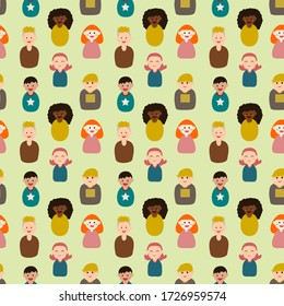 Youth group seamless pattern. Children's portrait cartoon on simple background. Flat design character. People minimal illustration.