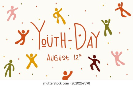 Youth International Day People Inspire by Nature Pattern Illustration Vector