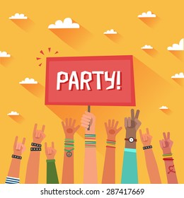 Youth party concept. A lot of hands of young people with a placard for text on summer sky backgrounds. Colorful vector illustration in flat style