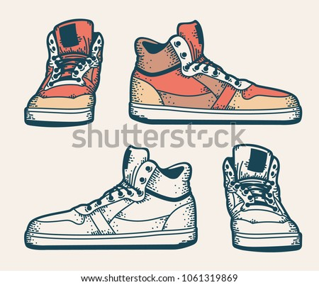 Youth sneakers in a hipster style. Side and front view. Colored and monochrome. Sketch drawing.