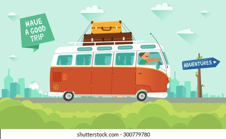 "Youth traveling by a vintage camper van on city background. ""Adventures"" road sign and ""Have a good trip"" ribbon. Vector colorful illustration in flat style"