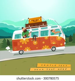 Youth traveling by a vintage camper van on country background with mountains and trees. Hippie microbus with musicians. Vector colorful illustration in flat style