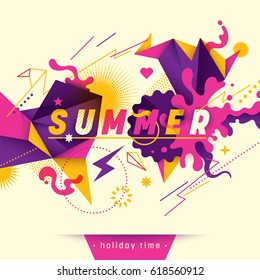Youthful summer background, with abstract style design in intense colors. Vector illustration.