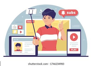 youtube content creator flat design illustration