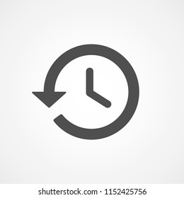 YouTube history button, web, app. Time sign. Alarm, clock icon. Vector illustration. EPS 10