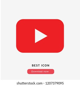 Youtube icon vector. Youtube symbol. Linear style sign for mobile concept and web design. Youtube symbol illustration. Pixel vector graphics - Vector.