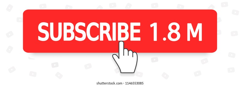 Youtube SUBSCRIBE  button red color and hand cursor. Vector illustration. EPS 10