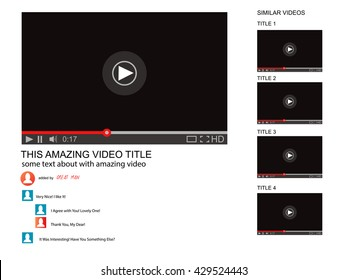 Youtube. Vector browser window with video player web site mock up. User Comments. Media Player template. Video player Interface