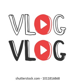 Youtube Video blog logo design web element hand drawn cute and funny. You tube