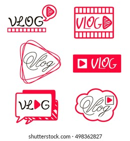 YouTube video channel player. Vlog or video blogging or video channel buttons set. Vector illustration. youtube Flat Social Media Background Sign Download. Play Vector Logo. icon