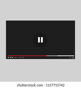 YouTube web video player. Modern video player. Player interface. Vector illustration. EPS 10.
