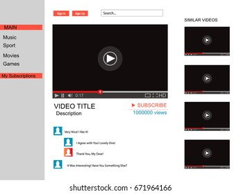 Youtube.Vector browser window with video player web site mock up. User Comments. Media Player template. Video player Interface